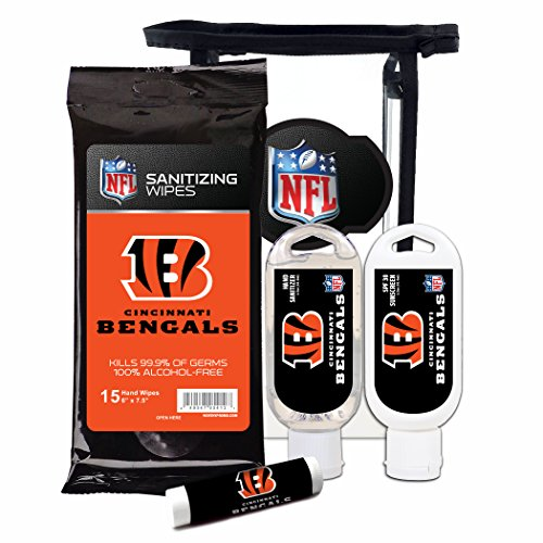 Worthy Promotional NFL Cincinnati Bengals 4-Piece Premium Gift Set with SPF 15 Lip Balm, Sanitizer, Wipes, Sunscreen