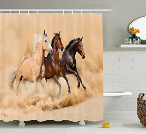 Running Decor Horse (Horses Shower Curtain Set Animal Decor by Ambesonne, Three Horse Running in Desert Storm Mythical Mystical Messenger Animals in Habitat Print, Fabric Bathroom Accessories, With Hooks, Cream Brown)