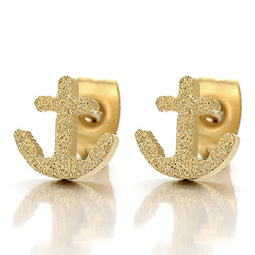 Stainless Gold Anchor Stud Earrings - 6