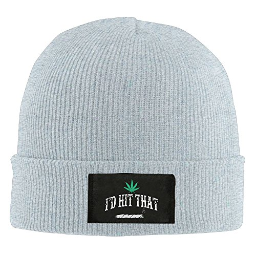 The Town Movie Skull Costumes (Uozhusan I'd Hit That Weed Chunky Cable Knit Beanie, Winter Knitting Warm Hat Beanie Skull Cap For Women&Men Ash)