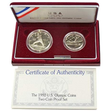 1992 S Olympic Two Coin Commemorative Proof Silver Dollar Coins Uncirculated