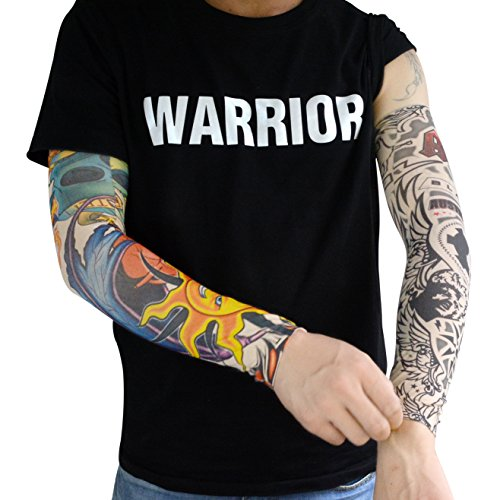 HOVEOX 20pcs Temporary Tattoo Arm Sleeves Arts Fake Slip on Arm Sunscreen Sleeves Body Art Stockings Protector -Designs Tribal, Tiger, Dragon, Skull, and Etc Unisex Stretchable Cosplay Accessories by HOVEOX (Image #3)