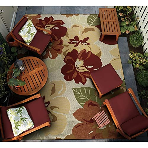 Couristan INC Dolce Novella Rose Bud Indoor/Outdoor Area Rug - 5'3
