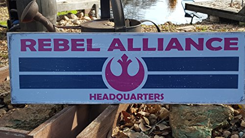 Man Cave Country Primitive Distressed Wood Print Sign 7.25″ x 24″ Star Wars, Rebel Alliance Sign For Sale