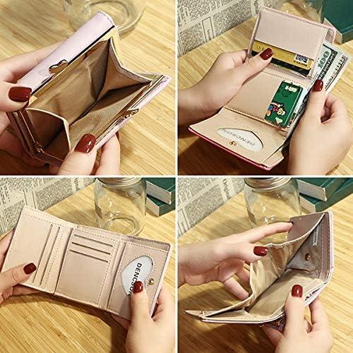 女性のフェイクレザー三つ折りのかわいい猫のパターンショート財布コインバッグカードホルダー YZUEYT