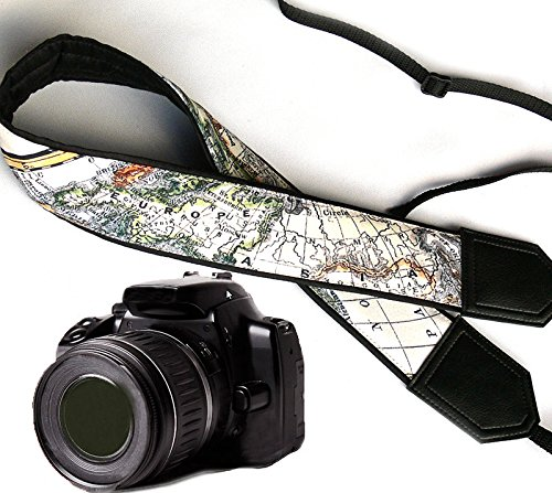 world-map-camera-strap-europe-asia-america-black-dslr-slr-camera-strap-durable-light-weight-and-well