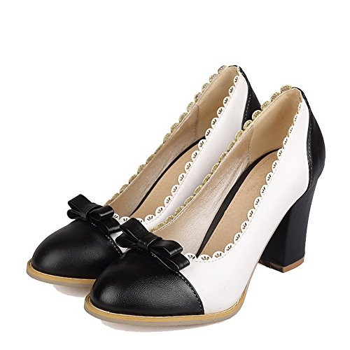 Assorted Pumps Closed High Shoes Black Color Toe Women's Heels AmoonyFashion 4W07qw5Un