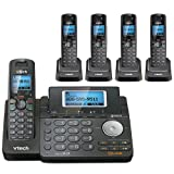 VTech DS6151-11 DECT 6.0 2-Line Expandable Cordless Phone + (4) DS6101-11 Accessory Handset, Black