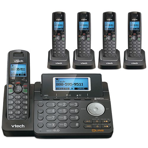 (VTech DS6151-11 DECT 6.0 2-Line Expandable Cordless Phone + (4) DS6101-11 Accessory Handset, Black)
