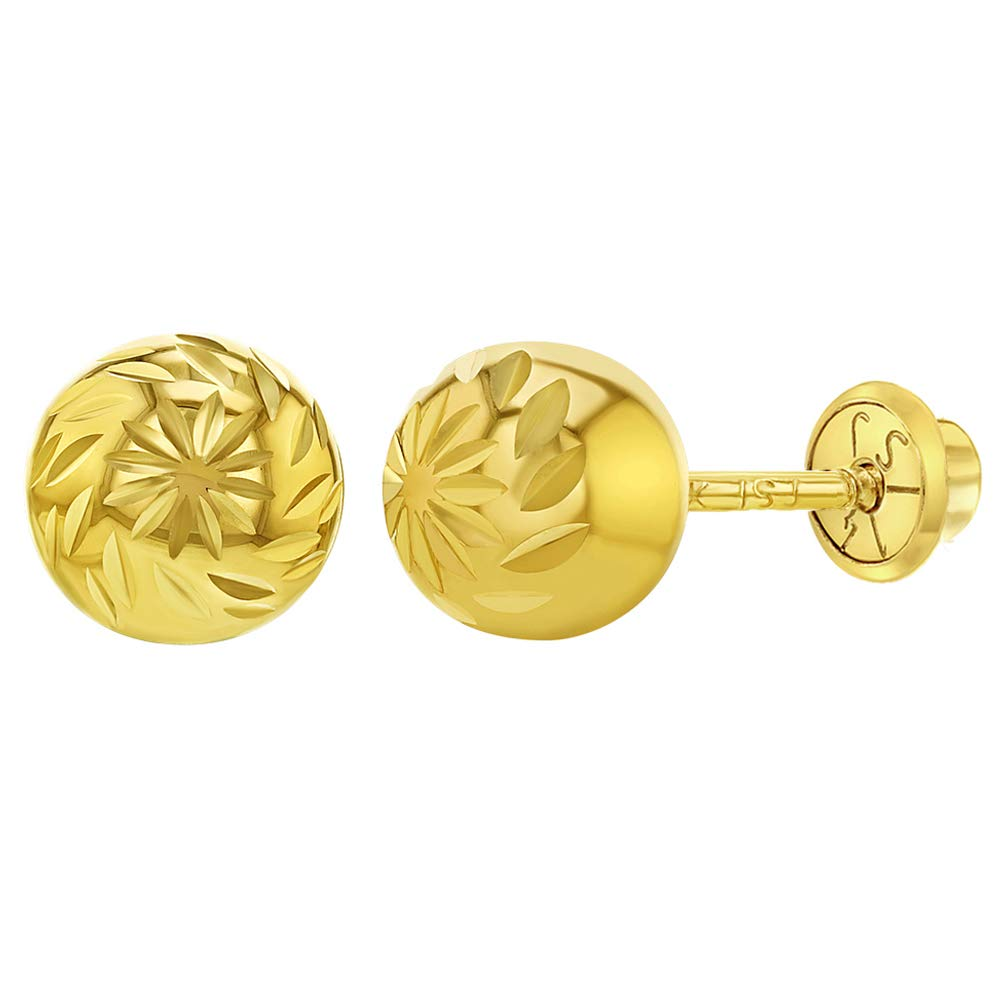 14K Yellow Gold High Polish Diamond-Cut Ball Earrings with Screw Backs
