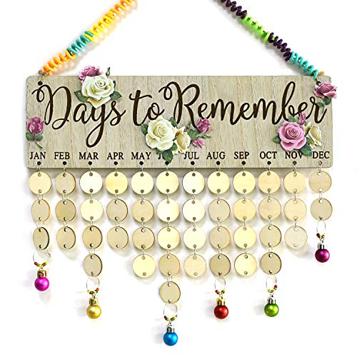 YuQi Birthday Calendar Wall Hanging DIY Flower Wall Backdrop Hanging with Birthday Board Plaque,Flower Stickers,Colorful Binding Coils and Assorted-Colors Balls Pendants