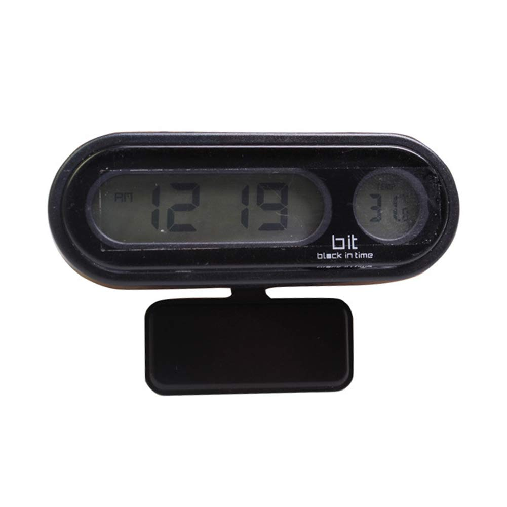 NAttnJf Auto-Uhr-Thermometer Digitaluhr LED-Anzeige 2 in1 Auto Auto elektronische hohe Helligkeit LED Digital Wecker Thermometer