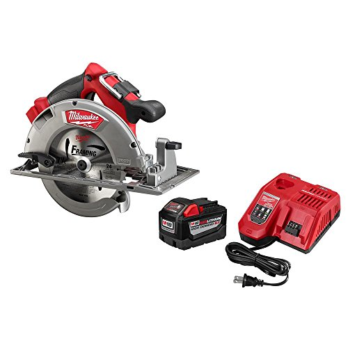 Milwaukee M18 FUEL 18-Volt Lithium Ion Brushless Cordless 7 1/4 in. Circular Saw with M18 18-Volt 9.0Ah Starter Kit | Modern Hardware Power Tools for Your Carpentry Workshop or Machine Shop (Milwaukee Tools Car Charger)