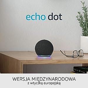 Nowe Echo Dot 4. generacji | Inteligentny głośnik z Alexą | Wersja międzynarodowa | Język polski nie jest obsługiwany | Kolor Grafitowy