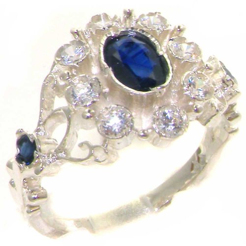 (925 Sterling Silver Natural Sapphire and Diamond Womens Cluster Ring (0.3 cttw, H-I Color, I2-I3 Clarity))