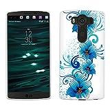 LG V10 Case, Snap On Cover by Trek Blue Flowers on White Case