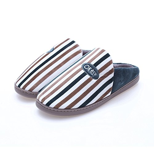Winter Zapatos Men Suave Indoor Antideslizante Zapatillas Rayado 'S ALIKEEY Caliente Café qf7zE7