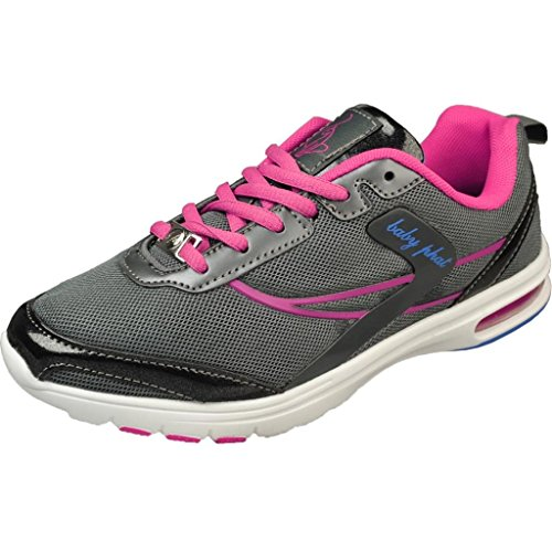 Baby Phat Women's Newt Charcoal/Pink Fashion Sneakers (7.5 M, Charcoal/Pink)