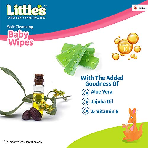 Little's Soft Cleansing Baby Wipes with Aloe Vera, Jojoba Oil and Vitamin E (80 wipes) pack of 6