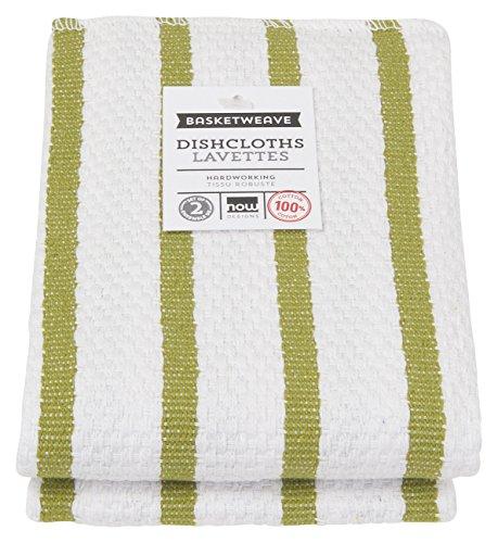 Green Basketweave (Now Designs Basketweave Kitchen Dishcloth, Set of Two, Cactus Green)