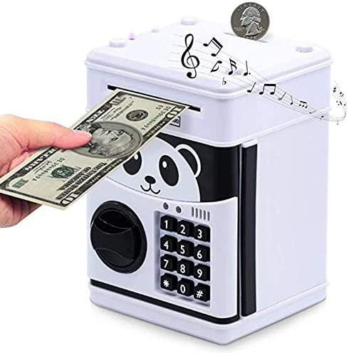 watata Children`s Cartoon Electronic Password Piggy Bank Mini ATM Bank Security Lock Smart Voice Prompt Automatic Roll Banknotes and Coins Best Children`s Gifts Fun Toys Birthday Gifts (Black)