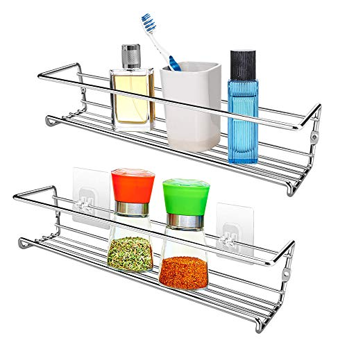 VOIMAKAS Spice Rack, Set of 2 Spice Rack Organizer Wall Mount Chrome Spice Shelf Organizer Hanging Spice Racks for Kitchen Cabinet, Cupboard or Pantry Door