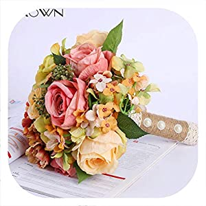 Memoirs- Simulation Rose Wedding Bride Holding Flowers European Style Artificial Silk Fake Bouquets Home Decor Flores 46