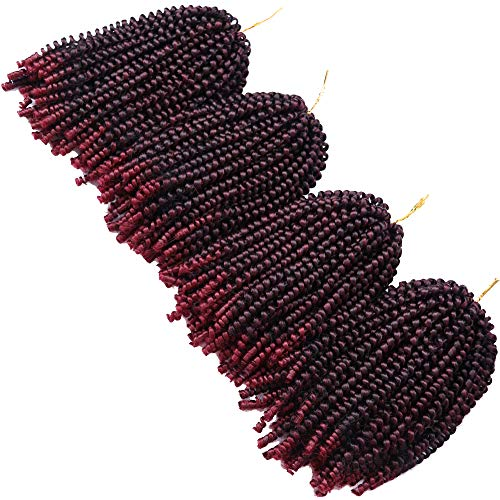 4 Pack Spring Twist Braids Ombre Colors Crochet Braids Synthetic Braiding Hair Extensions Low Temperature Fiber 8inch 100g (8 INCH, T1B/BUG)