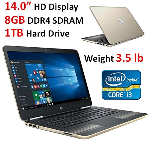 2017 HP Pavilion 14'' HD WLED-Backlit HD (1366x768) Display Laptop, Intel Core i3-6100U, 8GB RAM, 1TB HDD, Backlit Keyboard, 802.11AC, Bluetooth, B&O Play, Up to 8.5 Hours Battery Life, Windows 10
