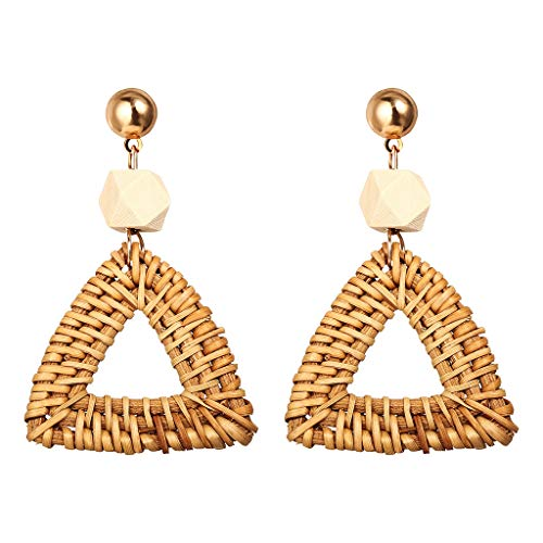 Creazrise Rattan Earrings for Women Handmade Straw Wicker Braid Drop Dangle Earrings Lightweight Geometric Statement Earrings (Gold)