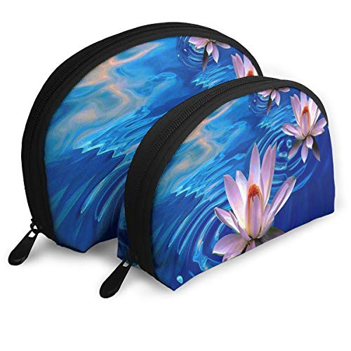 Makeup Bag Lotus Flower Art Portable Shell Toiletry Organizer For Girls Holiday 2 Piece -