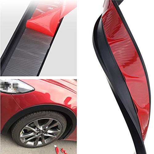 FidgetFidget Wheel Eyebrow Trim Protector Stripe Car Fender Flare Extension Black 1.5M 2PCS