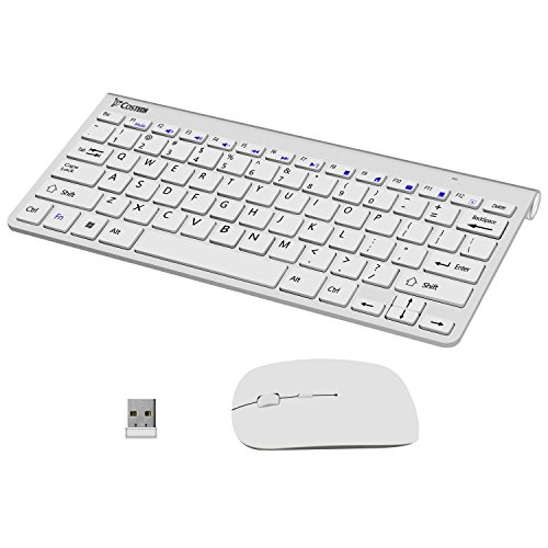 Wireless Keyboard and Mouse Combo, Costech 2.4G Ultra Slim Portable Cordless Device for Desktop, Laptop, Windows 7 / (Metal Wireless Mouse)