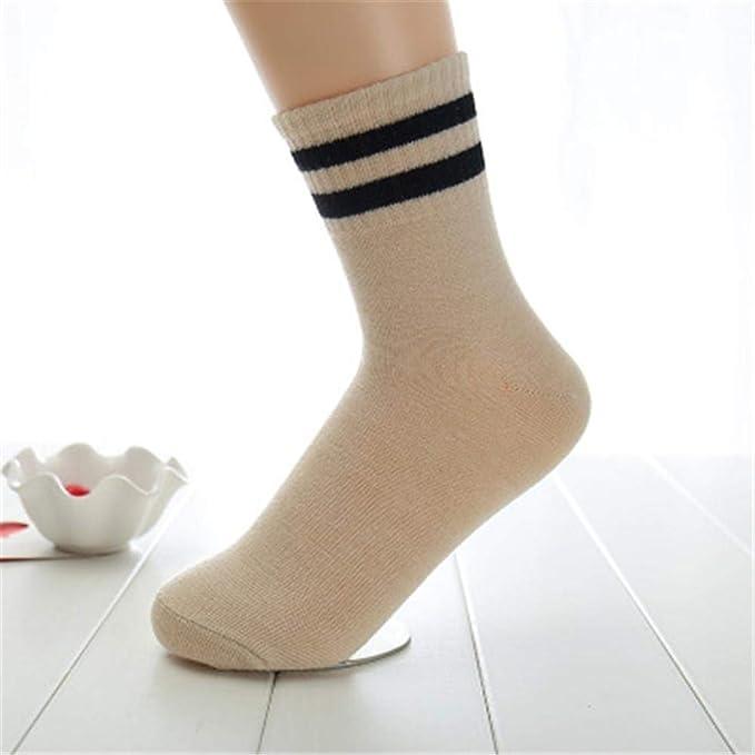 VJGOAL Moda casual de mujer Raya retro color sólido Calcetines a media pierna Cómodos Calcetines gruesos y cálidos(Un tamaño, Blanco): Amazon.es: Ropa y ...
