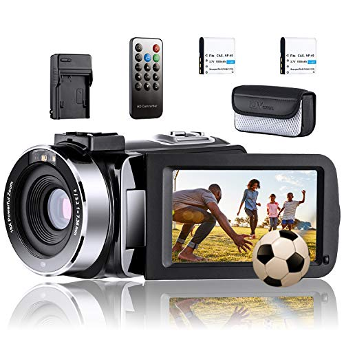 Video Camera Camcorder YouTube Vlogging Camera Recorder Ultra HD 1080P 24MP IR Night Vision 3.0″ Touch Screen with Separate Battery Charger, 2 Batteries