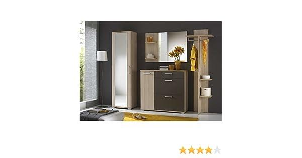 JUSTyou IDO Conjunto de muebles de entrada recibidor Tamaño: 195x225x35 cm Fresno Coimbra / Gris Grafito Mat: Amazon.es: Hogar