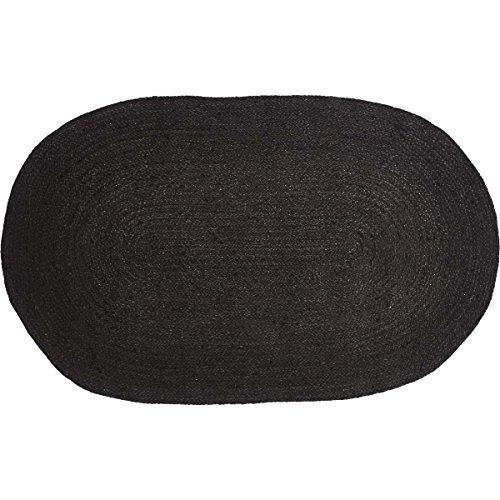 Rug Braided Black Oval - VHC Brands 36331 Farmhouse Primitive Flooring Jute Black Oval Rug, 27 x 48, Non-Stenciled