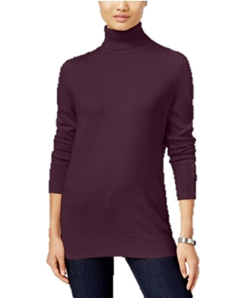 JM Collection Petite Turtleneck Sweater in Maroon Dahlia
