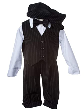 928a40c83 Amazon.com: Boys Toddler Knicker Set With Vest and Hat - Vintage  Black/White Stripe: Clothing