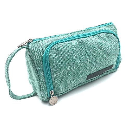 Large Capacity Pencil Case, Portable Zipper Closure Makeup Bag, Canvas Cell Phone Earphone Pouch (Mint green)