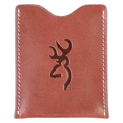 Browning Cognac Leather Money-Clip Wallet (Smooth Full-Grain Leather with Contrast Stitching, Fully Lined With Cotton Twill Fabric, Stamped Buckmark Logo, Magnetic Closure, Sold Individually)