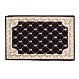 Hihome Anti-Slip/Skid Door Mat Shay Area Rugs Runner Rug 2'x3' Brown Traditional Classic Machine Washable Floral Rugs Indoor Outdoor Kitchen Hallway Entry(24'x36', Brown 6090)
