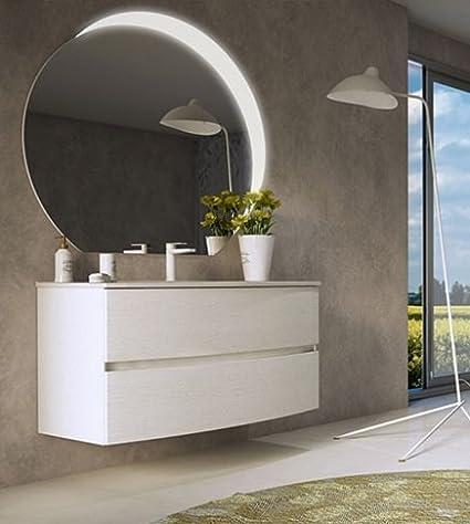 Mobile bagno sospeso moderno Dalila bianco cm 100,con specchio a led ...