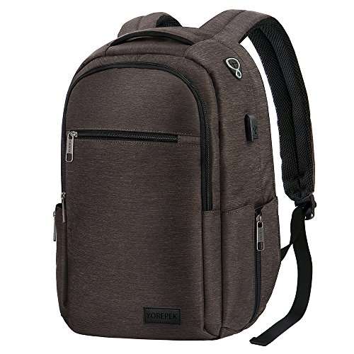 TSA Laptop Backpack, Water Resistant Anti Theft Travel Backpack for Men Women, Durable Computer College School backpack bookbag w/USB Charging Port Fit 15.6 Inch Macbook HP Dell Lenovo laptops, Coffee