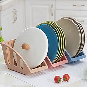 Kitchen Tools & Gadgets - Kitchen Drianing Drainer Plastic Storage Holde Dish Bowls Plate Drying Organizer Rack Shelf Holder - Moldable Peach Wrack Elastic Saucer Stand Pliant Bag Wring - 1PCs