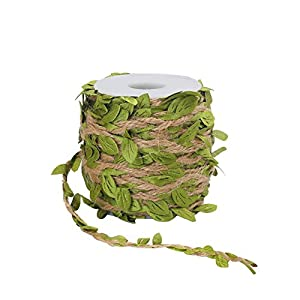 Tenn Well 66Ft 5MM Burlap Leaf Ribbon with Artificial Vine Green Leaves for Wedding Home Garden 64