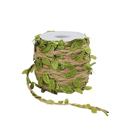 Tenn Well 66Ft Natural Jute Twine, 5MM Burlap Leaf Ribbon Artificial Vine Green Leaves Wedding Home Garden