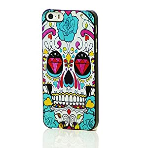 Luminous Effect Fluorescent Glow in the Dark Back Cover Case Fits Case For Iphone 6 4.7 Inch Cover with Free LCD Film Green Diamond Flower Skull