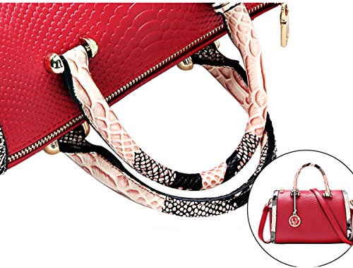 Faux Python Style Leather Boston Contrast Wine Bags Micom Tote Color with Red Handles Crocodile nEaCfwwxqt
