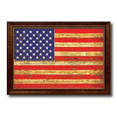 Flag Vintage Canvas Print with Brown Picture Frame Home Decor Wall Art Decoration Gifts
